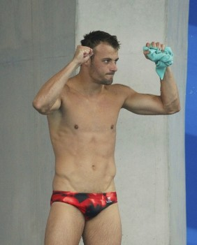 Germany's Klein celebrates his third place in men's 10m platform diving final at 14th FINA World Championships in Shanghai